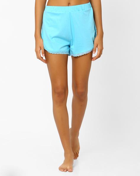 Shorts With Lace Trim By AJIO ( Aqua )