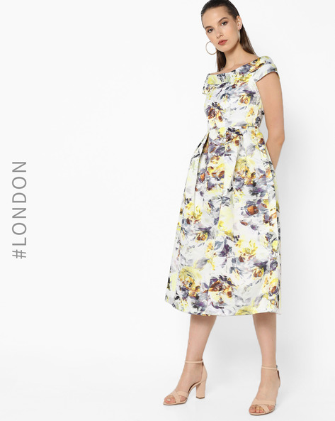 Printed Off-Shoulder Dress By Closet London ( Multi )