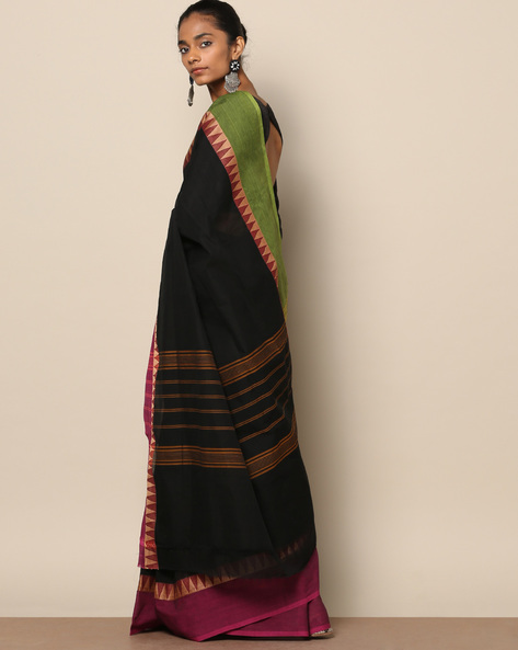 Kanchi Cotton Saree With Woven Border By Indie Picks ( Multi )