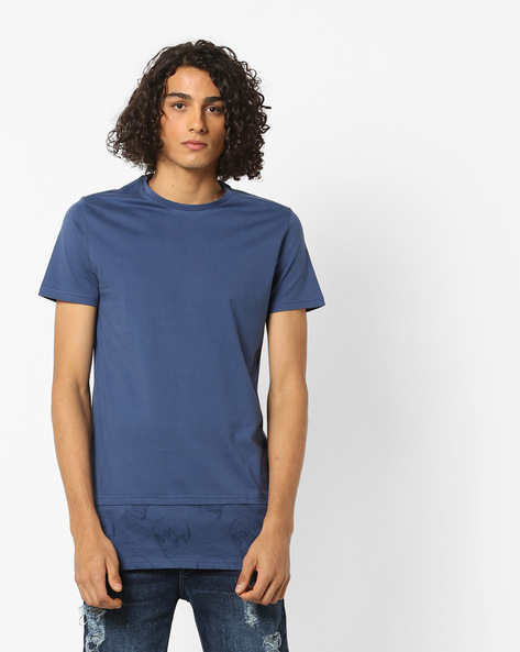 Crew-Neck T-shirt With Graphic Panel By AJIO ( Navy )