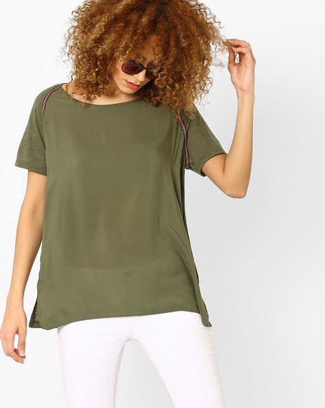 Top With Contrast Taping By Vero Moda ( Green )