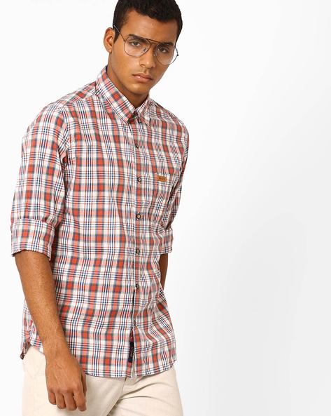 Slim Fit Cotton Checked Shirt By US POLO ( Red )