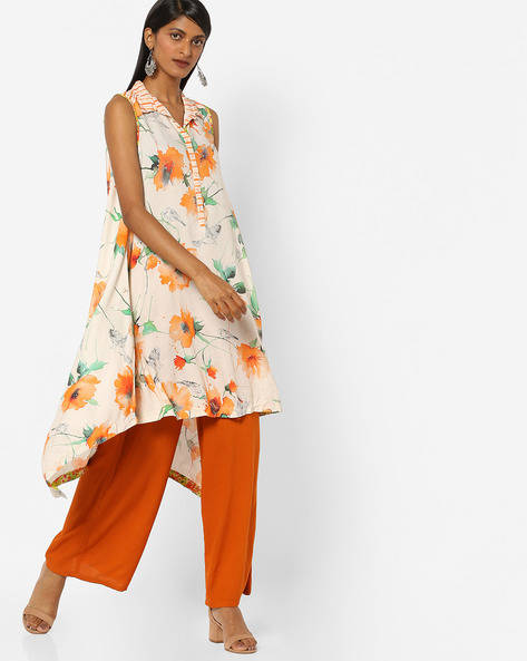 Floral Print Kurta With Asymmetrical Hemline By Biba ( Orange )