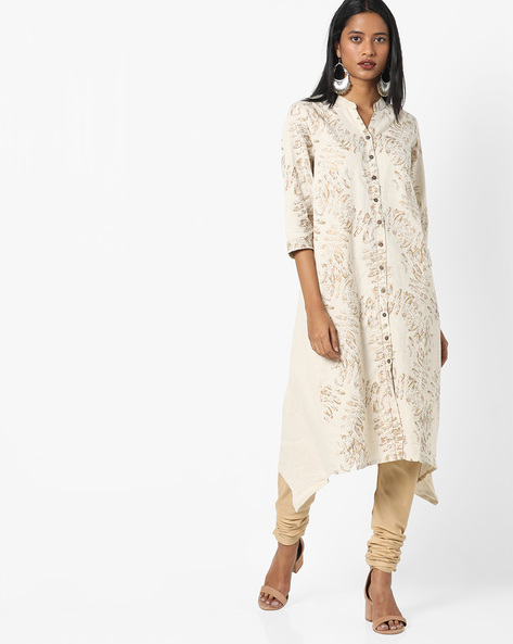 Printed Kurta With Asymmetric Hemline By Project Eve IW Casual ( Natural )