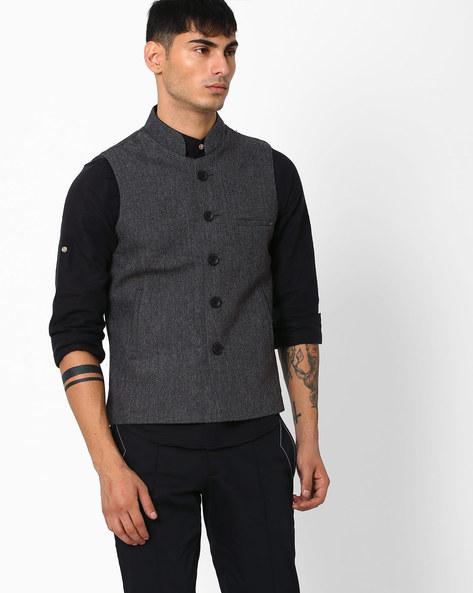 Regular Fit Nehru Jacket By DUKE ( Darkgrey ) - 460043320009