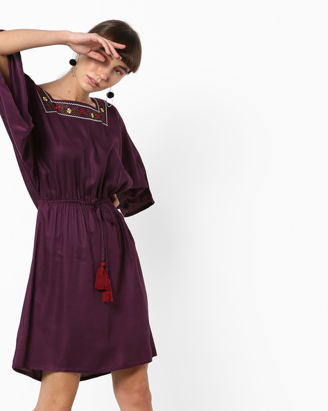 Knee-Length Dress With Tasselled Tie-Up By AJIO ( Purple )