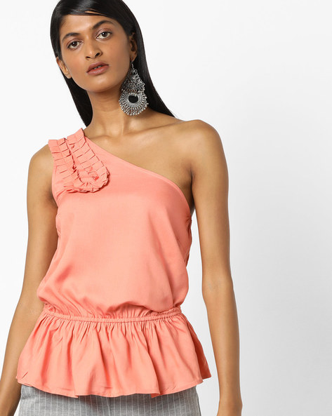 One-Shoulder Peplum Top By AJIO ( Coral )