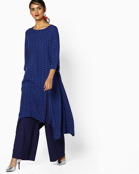 Printed Kurta With Asymmetric Hemline By Project Eve IW Casual ( Indigo )