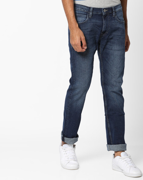 Slim Fit Jeans With Whiskers By Lee ( Blue )