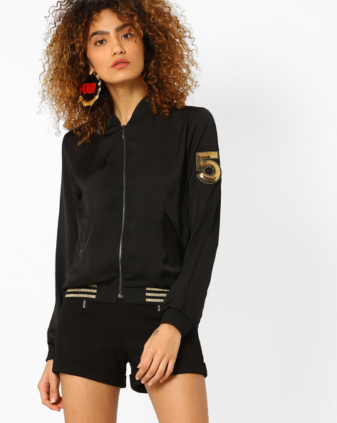 Biker Jacket With Sequins By Evah London ( Black )
