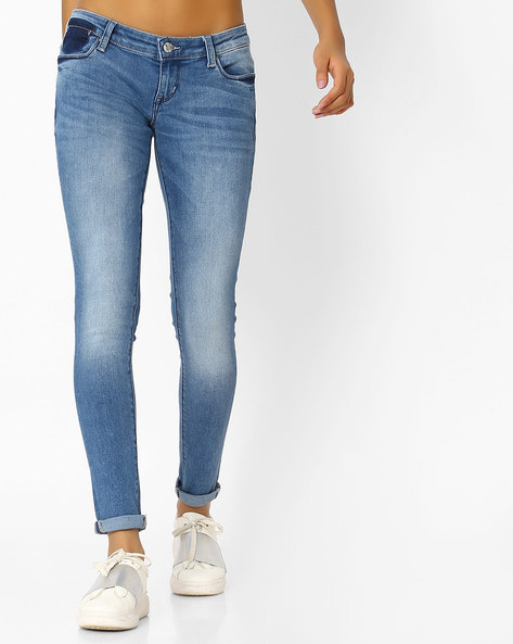 Lightly Washed Skinny Fit Jeans By Lee ( Blue )