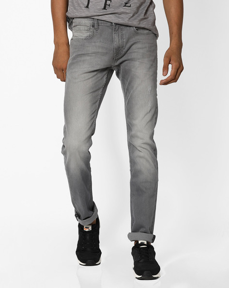 Lightly Distressed Denims By Pepe Jeans ( Grey )