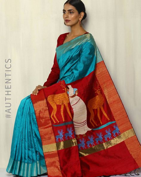Handloom Designer Pure Silk Dupion Saree By Pretty Woman ( Blue )