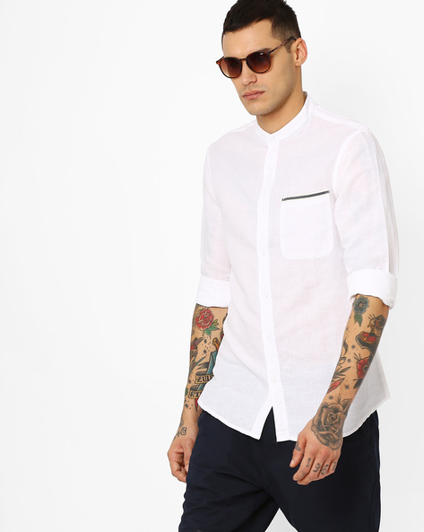 Linen Shirt With Mandarin Collar By AJIO ( White )
