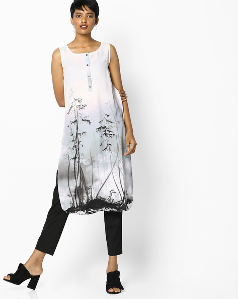 Printed Straight Kurta With Curved Hem By PE IW Casual ( Grey )