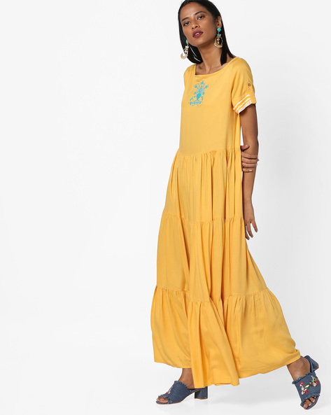 Panelled Maxi Dress By AJIO ( Yellow )