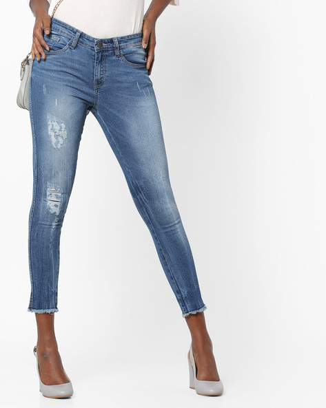 Lightly Washed Distressed Jeans With Frayed Hems By AJIO ( Darkblue )