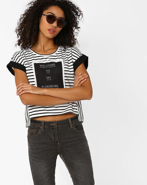 Striped Top With High-Low Hem By RIO ( White )
