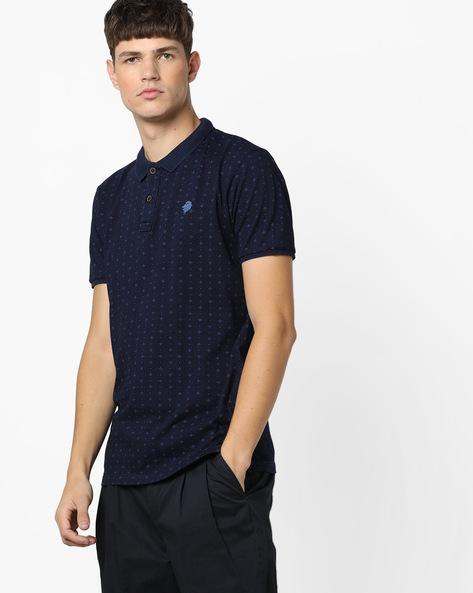 Ditsy Print Slim Fit Polo T-shirt By NETPLAY ( Navy )