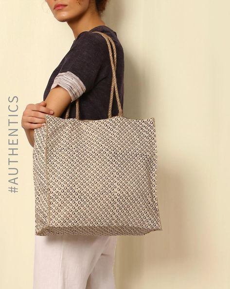 Sanganeri Handblock Print Cotton Jute Hand Bag By Awdhesh Kumar ( Multi )