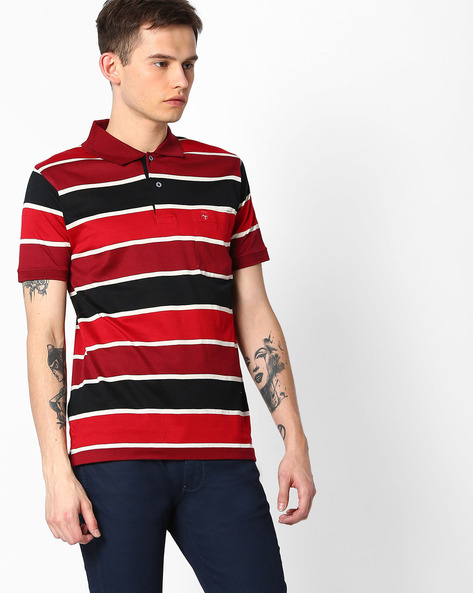 Striped Stardust Polo T-shirt By DUKE ( Maroonburg )