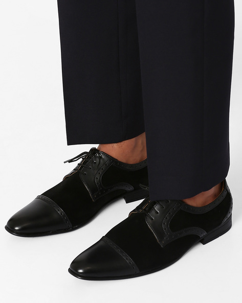 Cap-Toe Derby Shoes By Modello Domani ( Black )