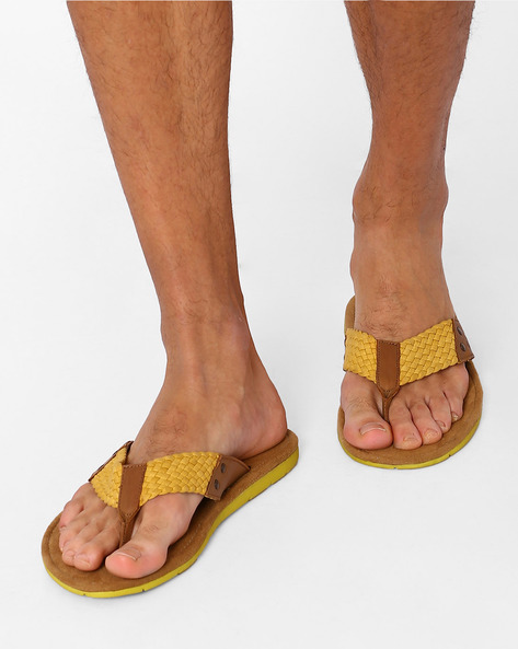 Flip-Flops With Braided Straps By USPA ( Yellow )
