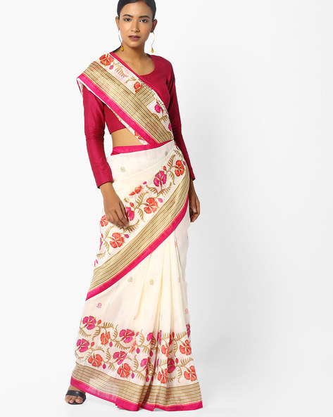 Floral Print Bhagalpuri Art Silk Saree By Ishaya ( White )