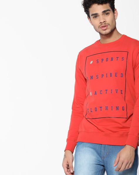 Typographic Print Crew-Neck Sweatshirt By Teamspirit ( Orange )