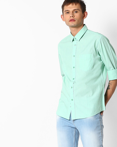 Regular Fit Shirt With Patch Pocket By INDIAN TERRAIN ( Mint )