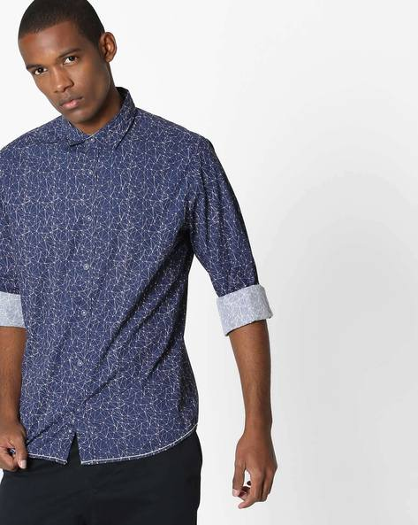Diamond-Structure Print Cotton Shirt By UNITED COLORS OF BENETTON ( Darkblue )