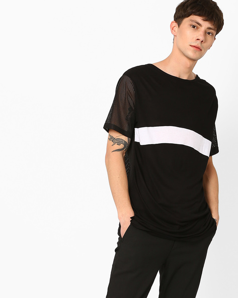 Panelled Longline T-shirt With Mesh Back By ADAMO LONDON ( Black )