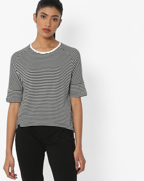 Striped Top With Raglan Sleeves By Teamspirit ( Black )
