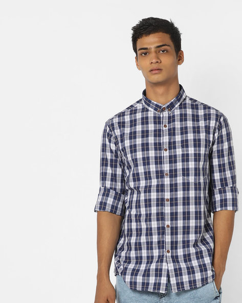 Checked Shirt With Button-Down Collar By AJIO ( Blue ) - 460120313004