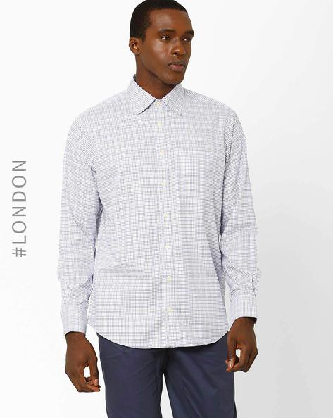 Performance Pure Cotton Non-Iron Checked Shirt By Marks & Spencer ( Blue )