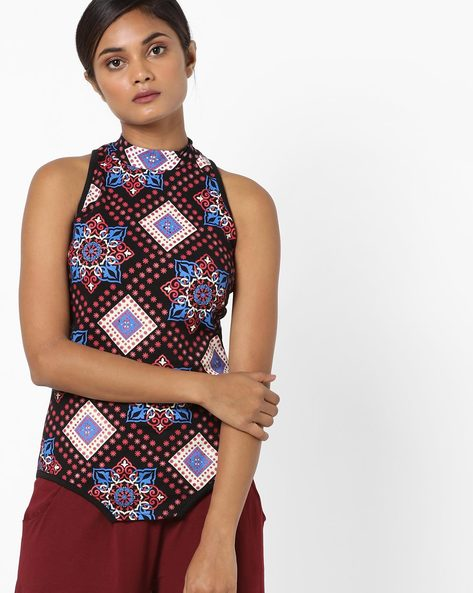 Geometric Print High Neck Top By Blue Saint ( Black )