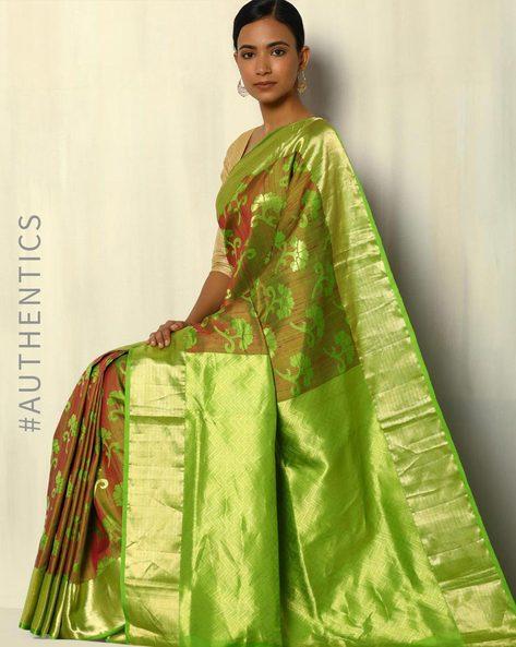 Pure Silk Dupion Handloom Saree With Zari Border By Pretty Woman ( Green )