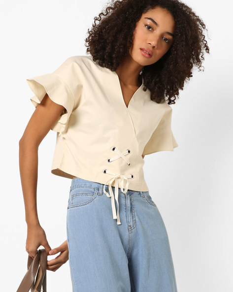 Lace-Up Tops With Surplice Neckline By AJIO ( Offwhite )
