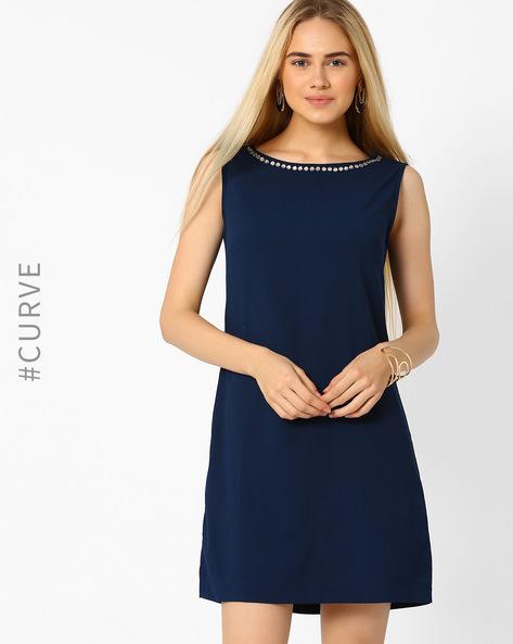 A-line Dress With Embellished Neckline By AJIO ( Navyblue )