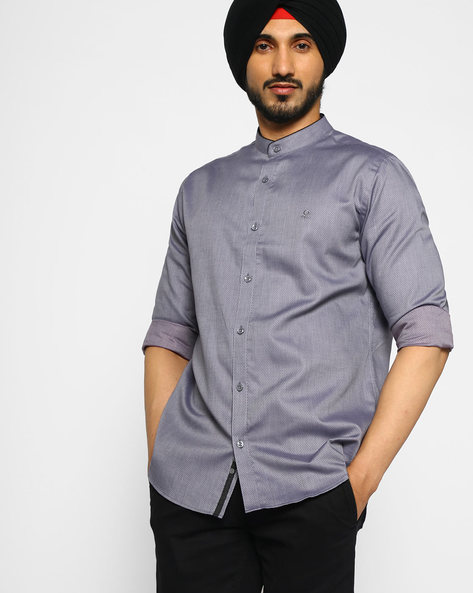 Ditsy Print Shirt With Mandarin Collar By UNITED COLORS OF BENETTON ( Darkgrey )