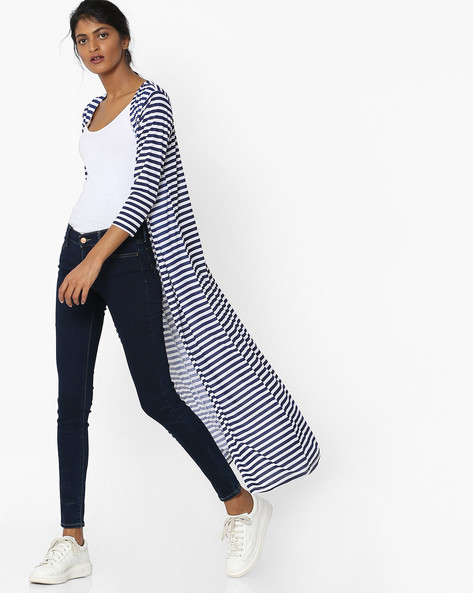 Striped Longline Shrug By Sassafras ( Navyblue )