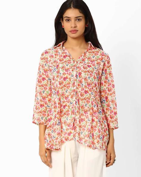 Floral Print Shirt By Biba ( Peach )