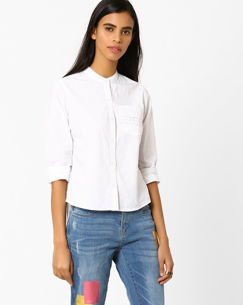High-Low Top With Patch Pocket By AJIO ( White )