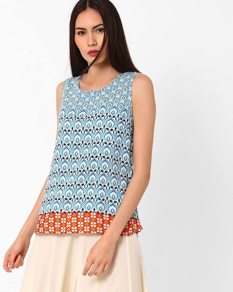 Printed Sleeveless Top By Rain & Rainbow ( Blue )