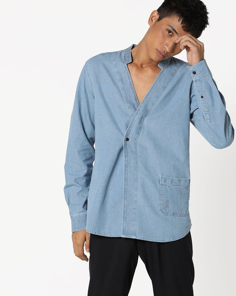 Yukata Slim Fit Shirt With Open Collar By AJIO ( Ltblue )