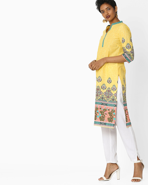 All-Over Print Straight Kurta By AURELIA ( Yellow )
