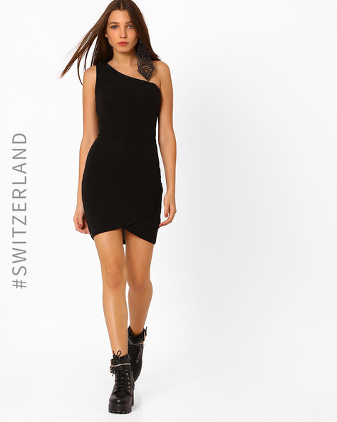 One Shoulder Dress With Tulip Hem By TALLY WEiJL ( Black )