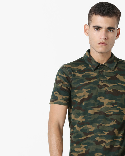 Camouflage Print Polo T-shirt By DIFFERENCE OF OPINION ( Khaki )