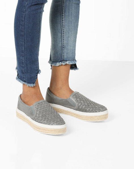 Flatform Loafers With Braided Midsole By Carlton London ( Grey )