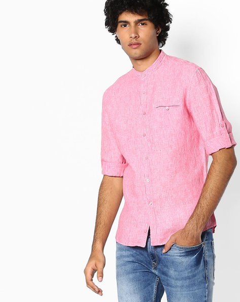 Pure Linen Shirt With Mandarin Collar By Celio ( Lightred )